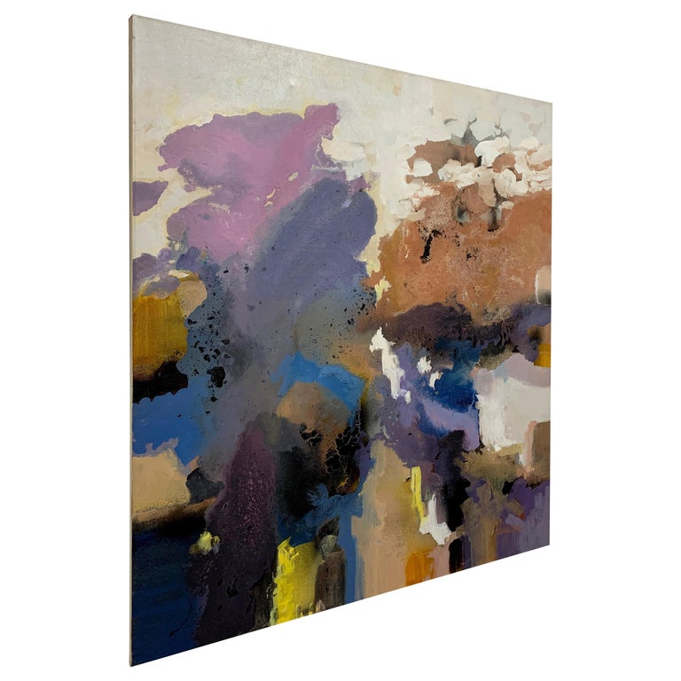 Large-Scale Signed Abstract Painting, 1970s For Sale
