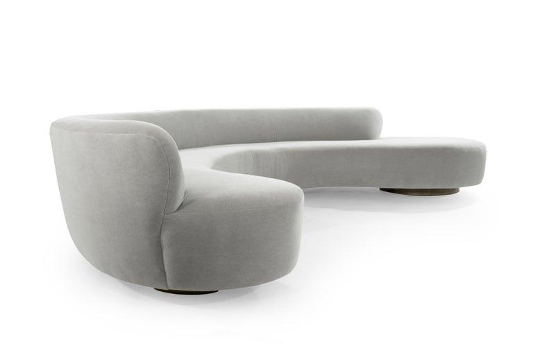 Mid-Century Modern Large Scale Sofa in Grey Alpaca Velvet by Vladimir Kagan For Sale