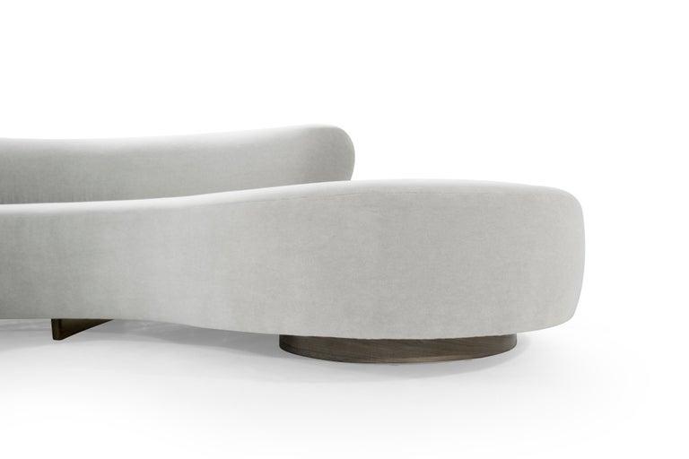Walnut Large Scale Sofa in Grey Alpaca Velvet by Vladimir Kagan For Sale