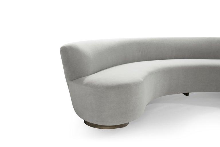 Large Scale Sofa in Grey Alpaca Velvet by Vladimir Kagan For Sale 1