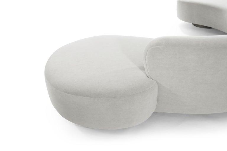 Large Scale Sofa in Grey Alpaca Velvet by Vladimir Kagan For Sale 2