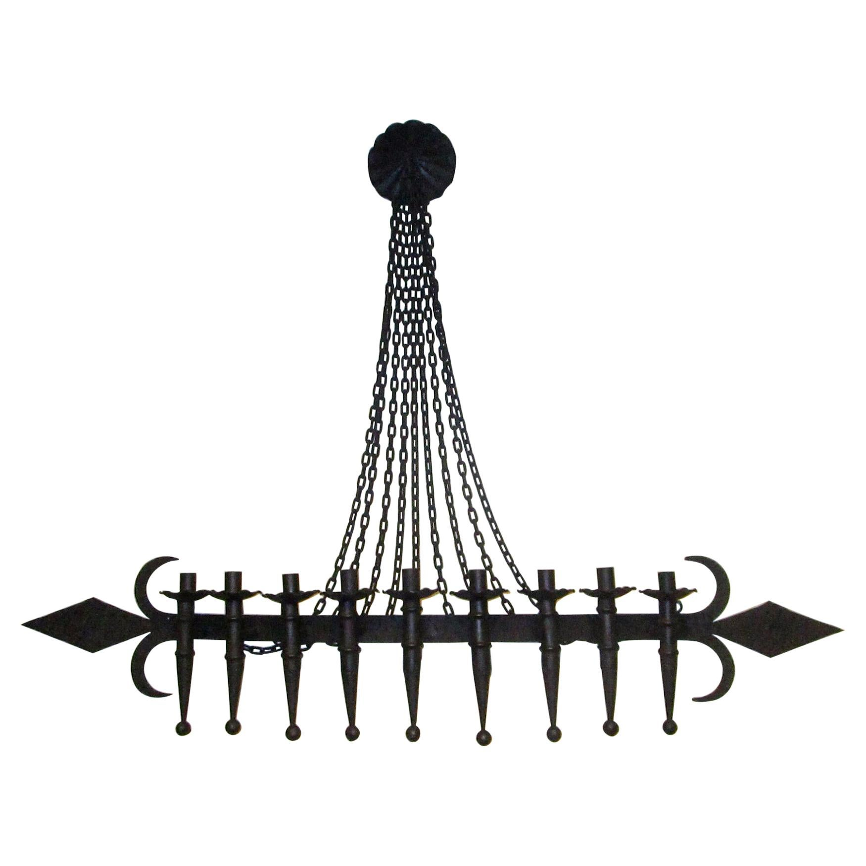 Large Scale Spanish Revival Hand Forged Wrought Iron 9 Light Wall Sconce