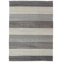 Large Scale Striped Kilim with All Natural Wool