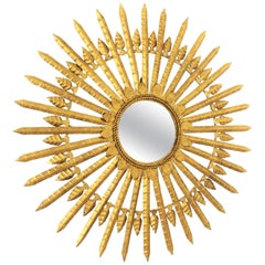 Large Scale Sunburst Mirror in Gilt Iron, Spain, 1950s