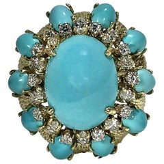 Large Scale Turquoise and Diamond Yellow Gold Ring