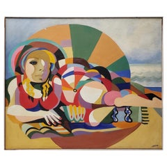"""Large Scale Vintage Mid Modern """"Reclining Figure"""" Oil Painting by Larsen"""