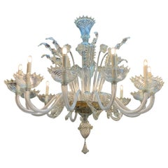 Large Scale Vintage Murano Glass 12-Light Chandelier