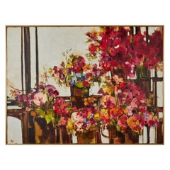 Large Scale Vintage Oil Painting 'Mexican Flower Stall Series'