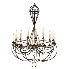 Large-Scale Vintage Wire Formed Chandelier