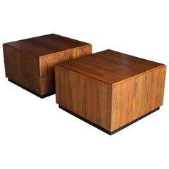Large Scale Walnut Side Tables, circa 1960