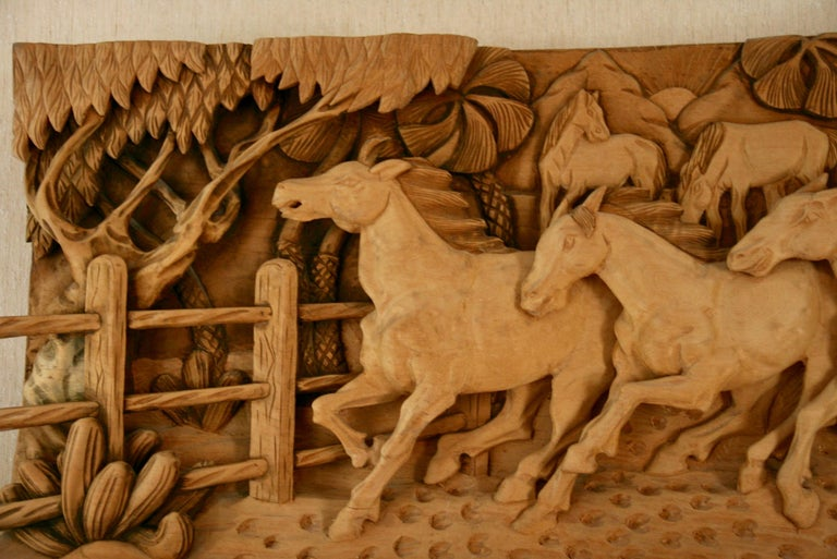 #9-500 large-scale Western wood sculpture. A large wood sculpture of horses in a West rach, signed lower right by Dede 88.
