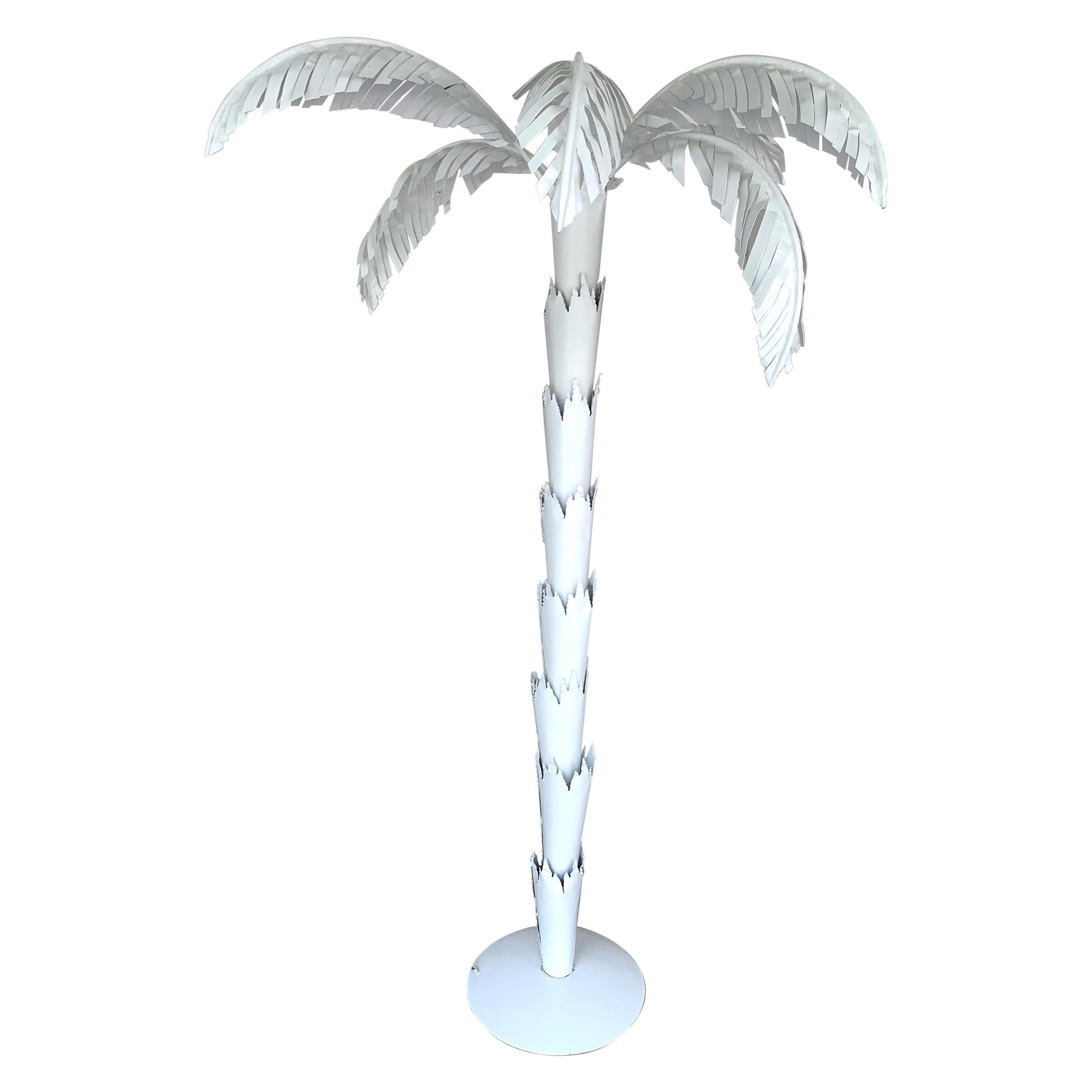 Large Scale White Tole Palm Tree Floor Lamp, Style of Serge Roche