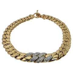 Large Scale Yellow Gold, Flat Cuban Link Choker Necklace with Diamonds