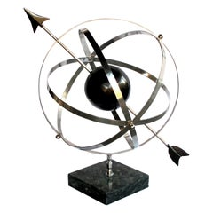 Large Scaled & Well-Rendered American 1980s Steel Astrological Zodiac Armillary