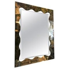 Large Scalloped and Beveled Eglomise Mirror