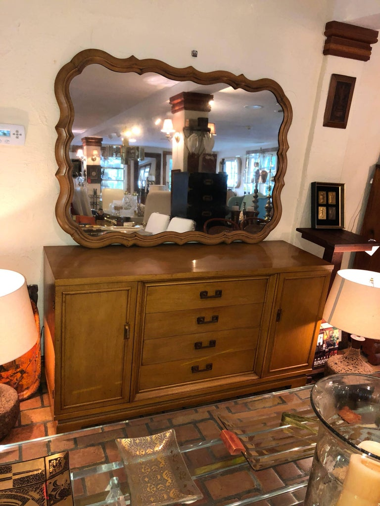 French Provincial Large Scalloped Fruitwood Mirror