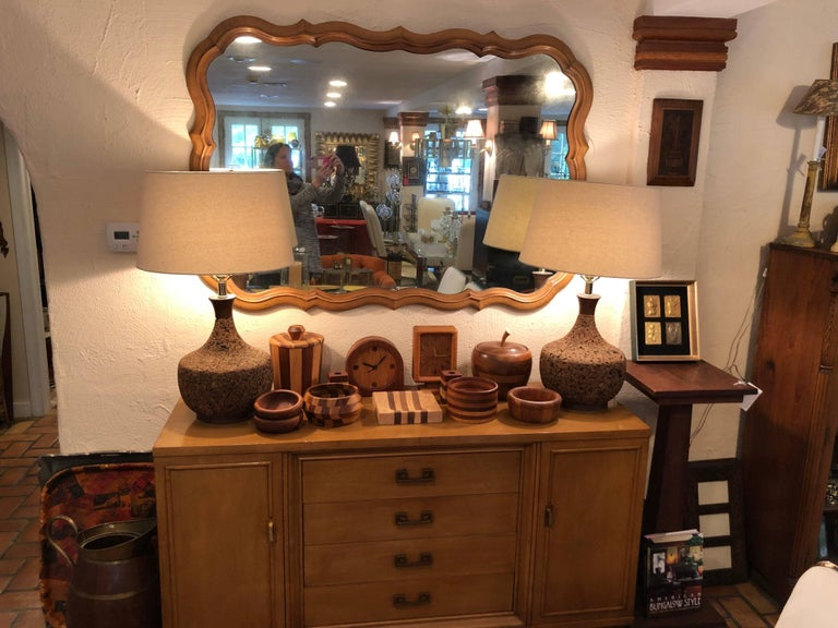 Mid-20th Century Large Scalloped Fruitwood Mirror
