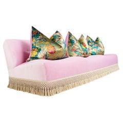 Large Scalloped Sofa in Pink Velvet, Customizable