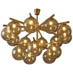 Large Scandinavian Chandelier in Brass with 15 Glass Spheres