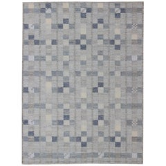 Large Scandinavian Flat-Weave Design Rug with Shades of Blue and Gray