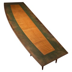 Large Scandinavian Freeform Conference Table with Leather Inlay