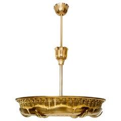 Large Scandinavian Modern Art Deco Ring Form Polished Brass Pendant