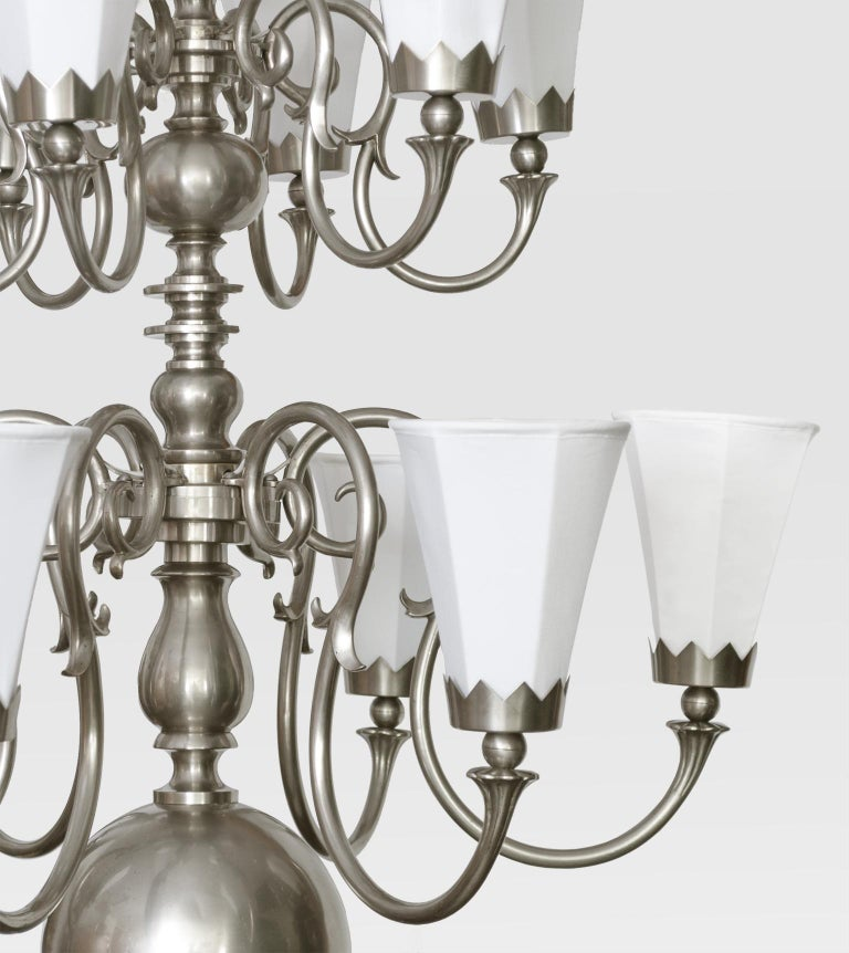 Brass Large 1920's Scandinavian Modern Chandelier with 12 arms made by Svenskt Tenn For Sale