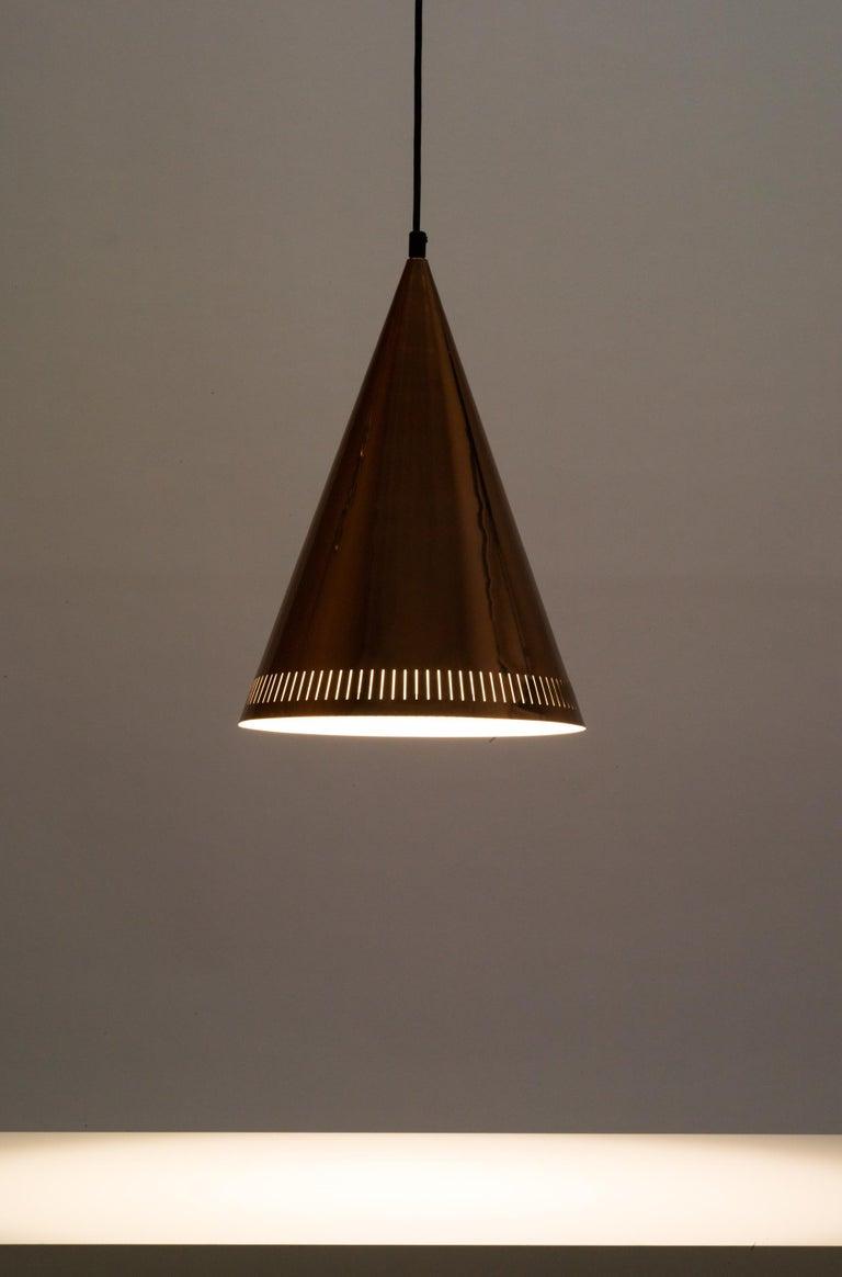 Swedish Large Scandinavian Modern Copper Cone Pendant Light by Falkenbergs, Sweden 1950s For Sale