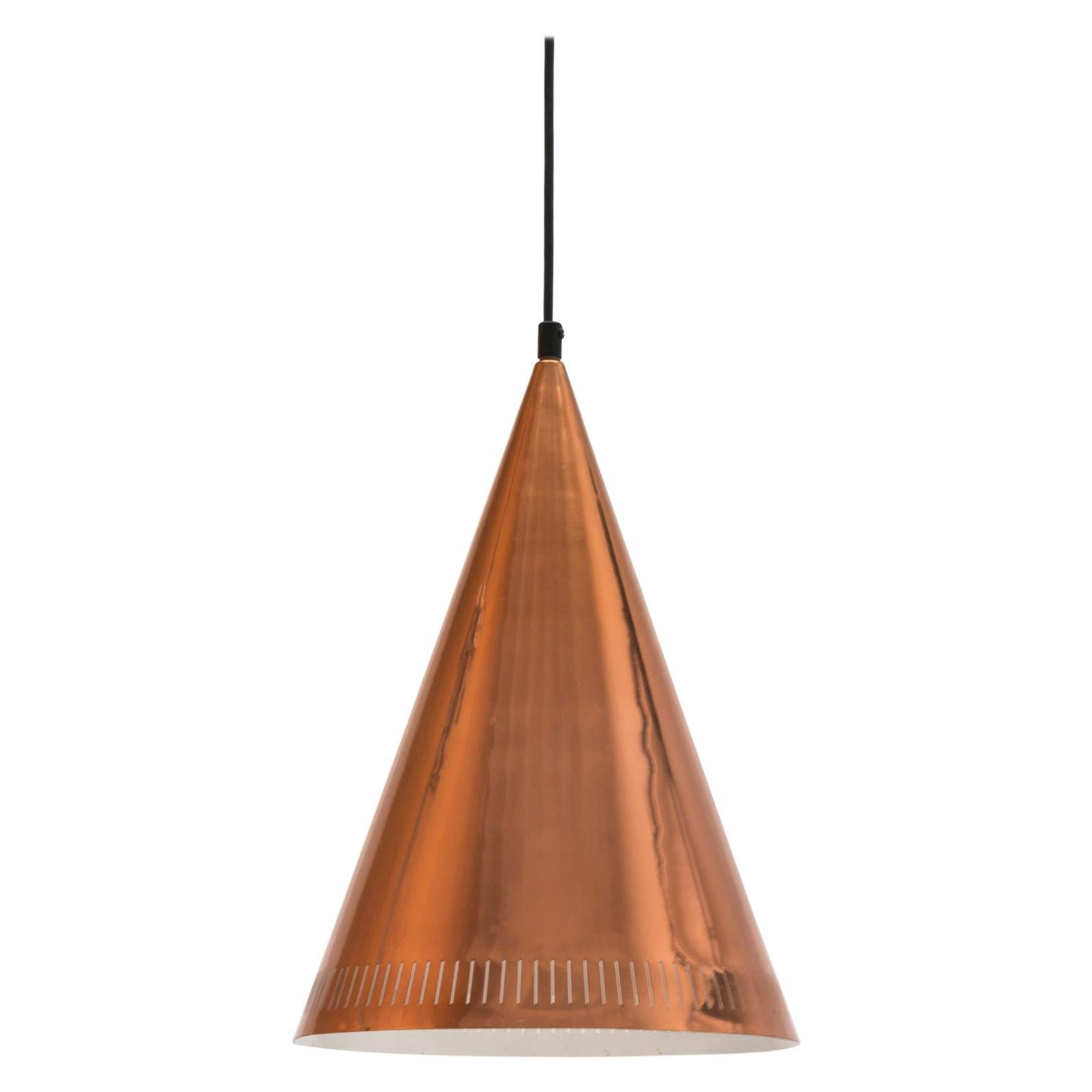 Large Scandinavian Modern Copper Cone Pendant Light by Falkenbergs, Sweden 1950s