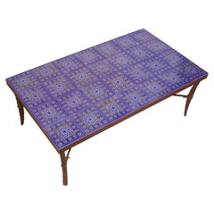 Large Scandinavian Modern Forged Bronze and Ceramic Tile Coffee Table