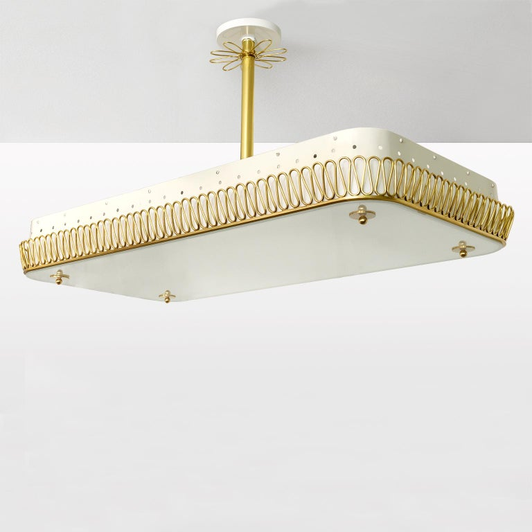 Painted Large Scandinavian Modern Pendant with Brass Filigree Glass plate shade 8 socket For Sale