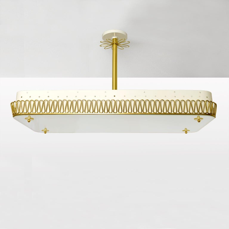 Large Scandinavian Modern Pendant with Brass Filigree Glass plate shade 8 socket In Excellent Condition For Sale In New York, NY