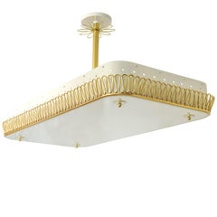 Large Scandinavian Modern Pendant with Brass Filigree Glass plate shade 8 socket