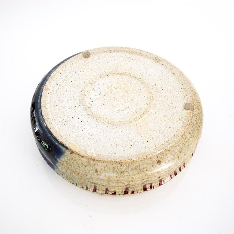 Large Scandinavian Modern Rorstrand Studio Ceramic Bowl by Sylvia Leuchovius In Good Condition For Sale In New York, NY