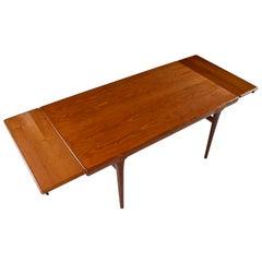 Large Scandinavian Modern Teak Draw-Leaf Expanding Dining Table, circa 1960s
