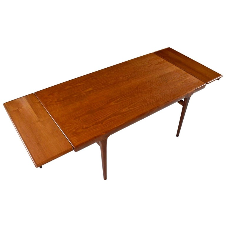 Large Scandinavian Modern Teak Draw-Leaf Expanding Dining Table, circa 1960s For Sale