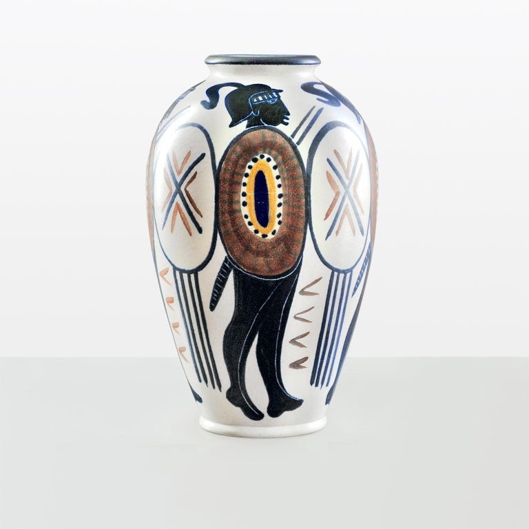Large Scandinavian midcentury ceramic vase with hand-painted figures by Mette Doller for Andersson and Johansson, Hoganas, Sweden.