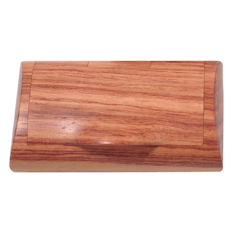 For Sale: Orange (Bois de Rose) Large Scatola Portapillole Wooden Pillbox by Bottega Ghianda