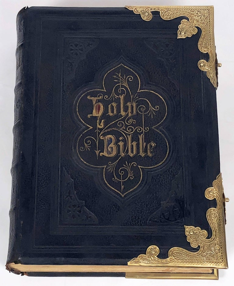 """A fine 19th century holy bible published in Scotland by John McGready, Publisher, Glasgow  Block-titled """"The Practical and Devotional Family Bible - The Holy Bible with the Commentaries of Henry and Scott""""  Featuring many sepia and color or"""