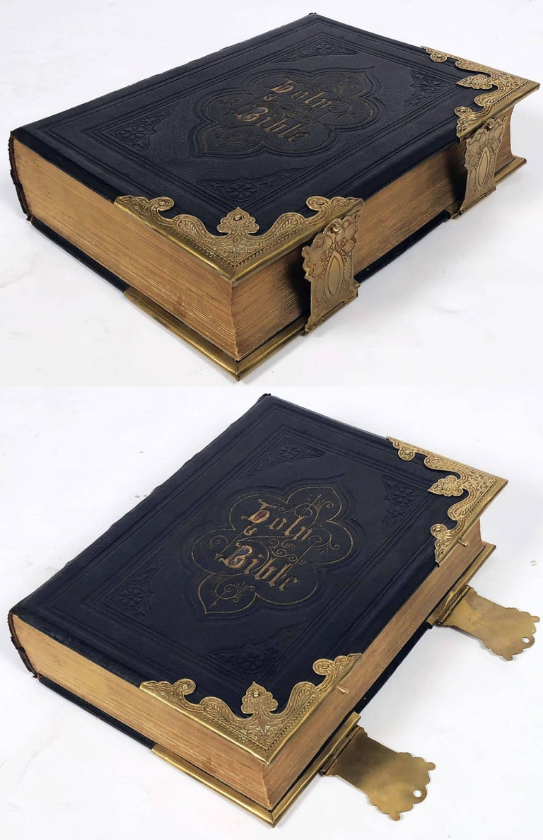 Brass Large Scottish Holy Bible with Clasps from the 19th Century For Sale