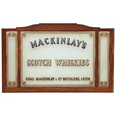 "Large Scottish Pub Sign ""Mackinlay's Scotch Whiskies"" of Wood and Glass"