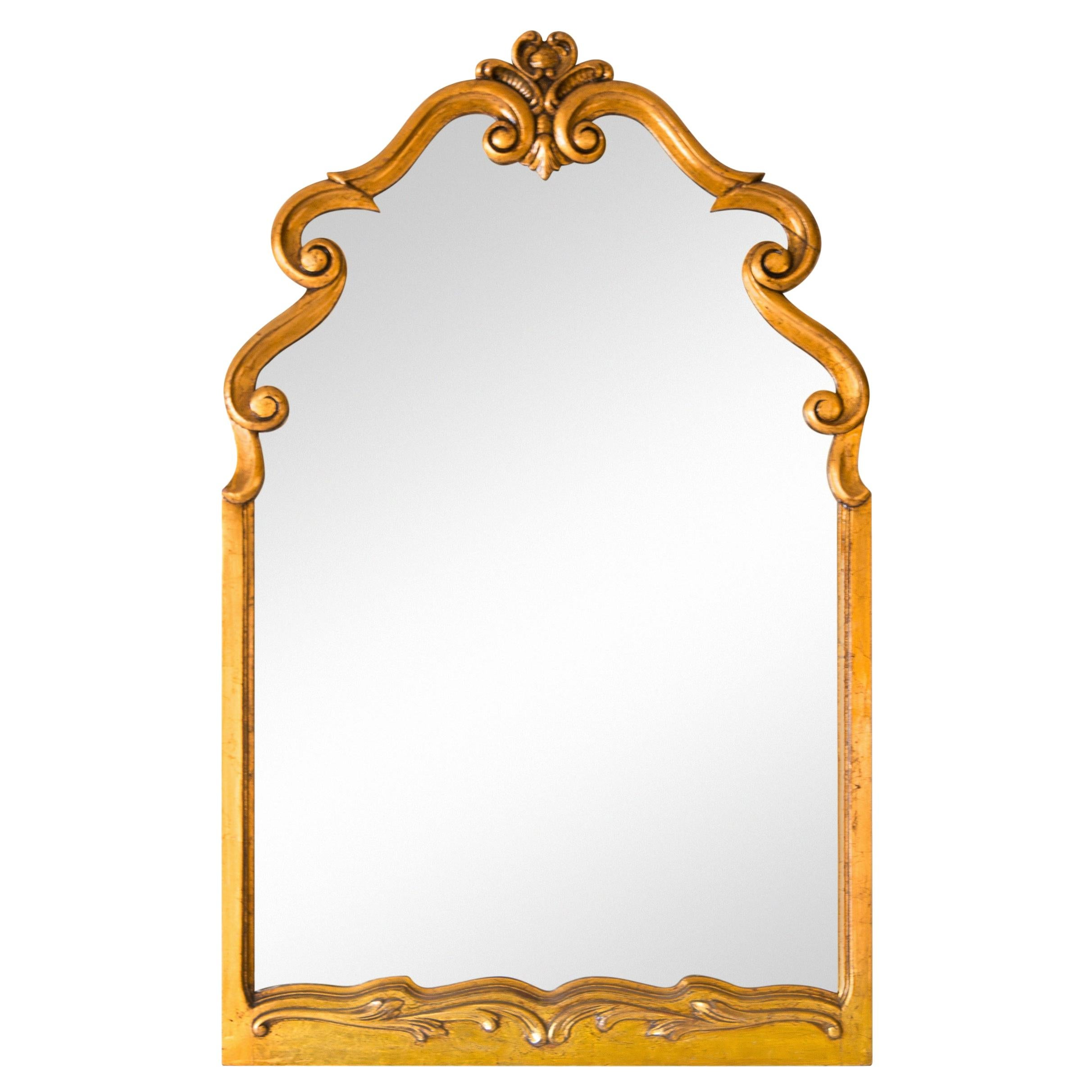 Large Scrolled Arch Gold Giltwood Mirror, 1950s