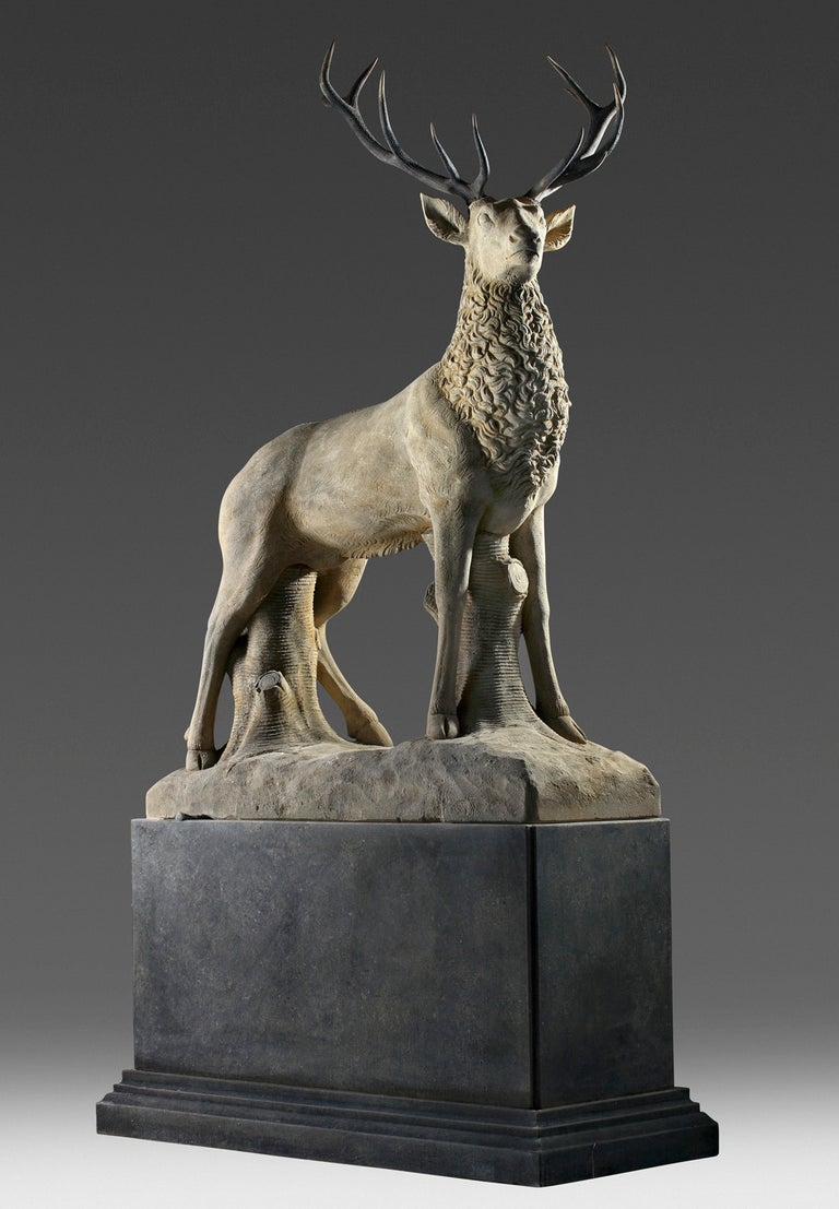 Carved Large Sculpted Limestone and Antler Mounted Model of a Stag / Reindeer For Sale