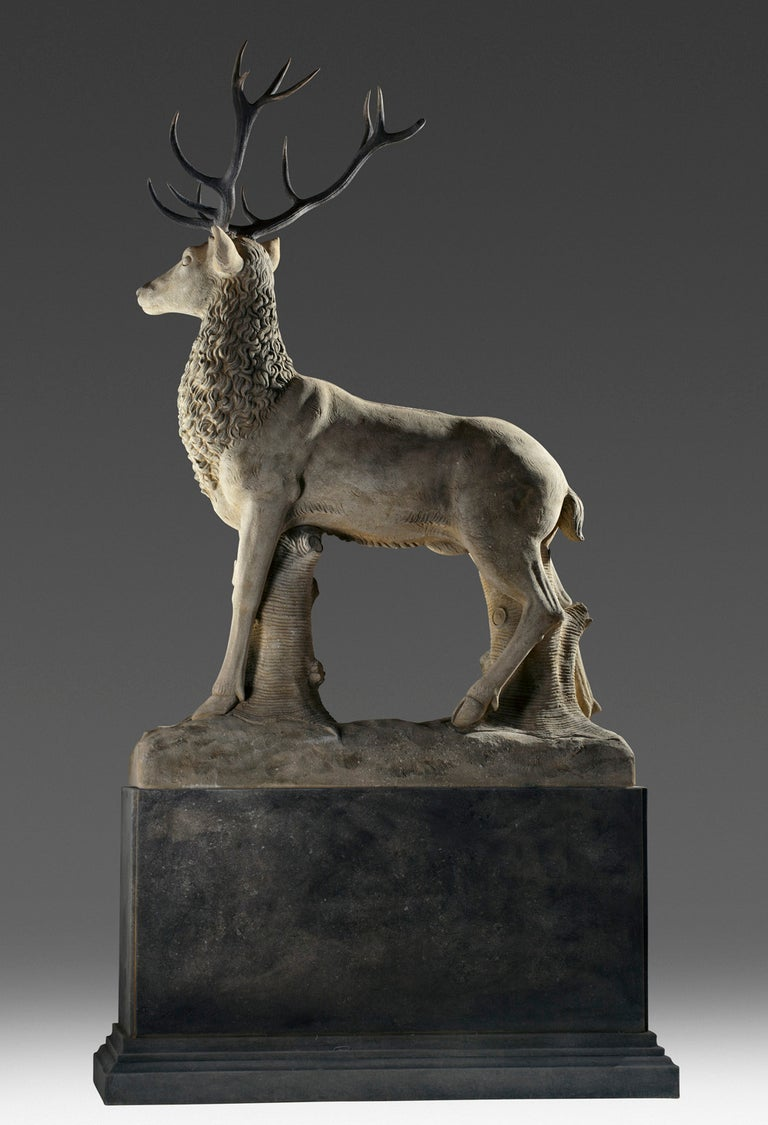 20th Century Large Sculpted Limestone and Antler Mounted Model of a Stag / Reindeer For Sale