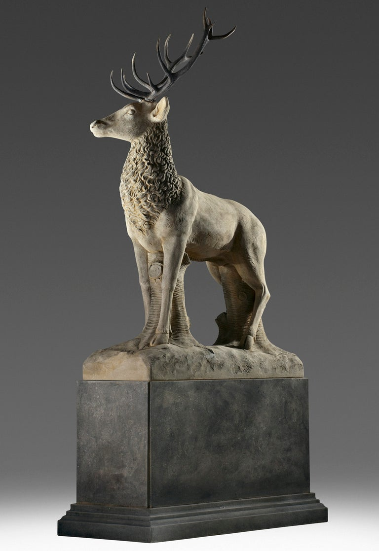 Large Sculpted Limestone and Antler Mounted Model of a Stag / Reindeer For Sale 1
