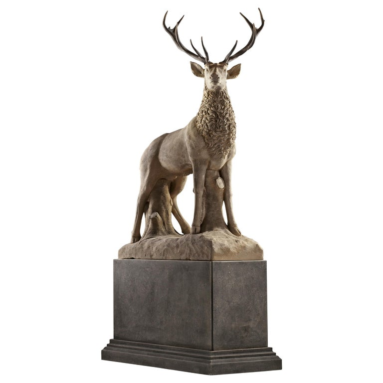 Large Sculpted Limestone and Antler Mounted Model of a Stag / Reindeer For Sale