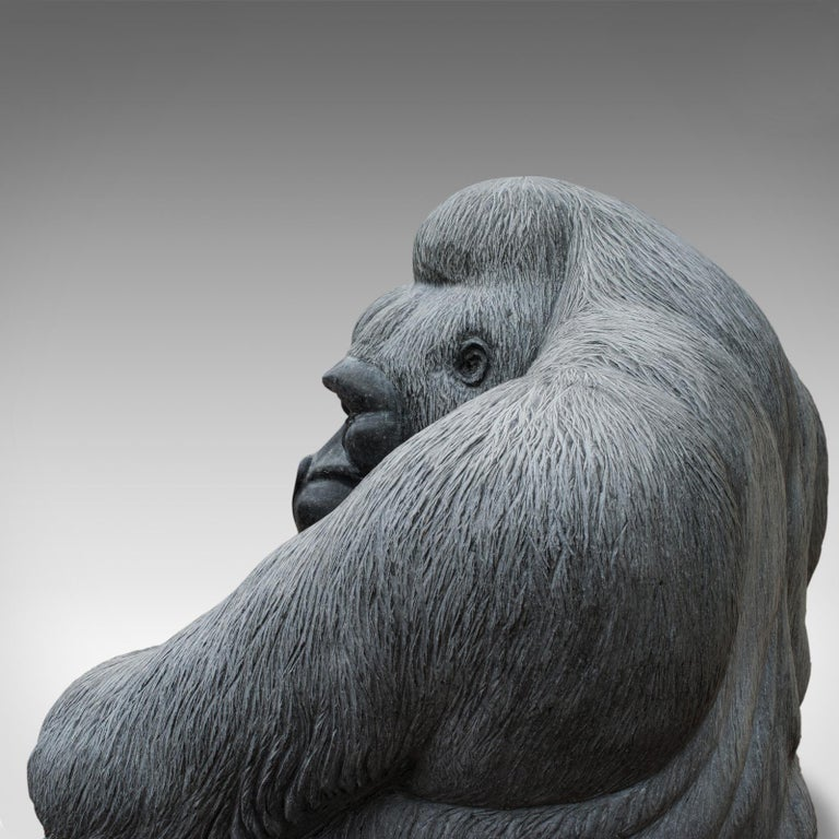 Large Sculptural Artwork Marble Statue Shabani Lowland Gorilla by Dominic Hurley For Sale 5