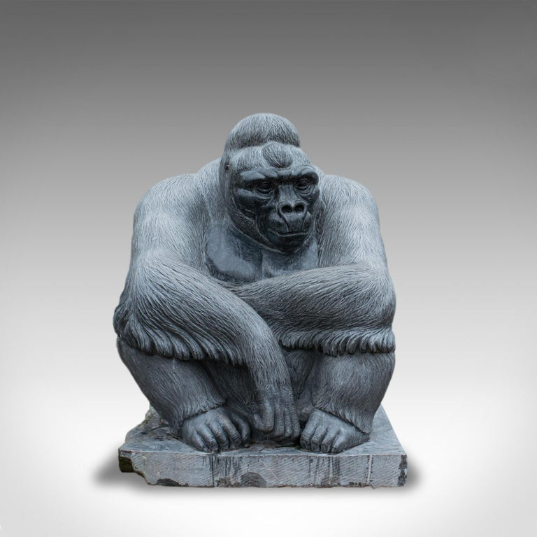 Our stock #18.5982  'Shabani - Gorilla in Thought' is a monumental sculptural artwork created by the renowned English artist Dominic Hurley.  Hewn from a five tonne solid block of the famous Kilkenny black marble, shipped across St George's