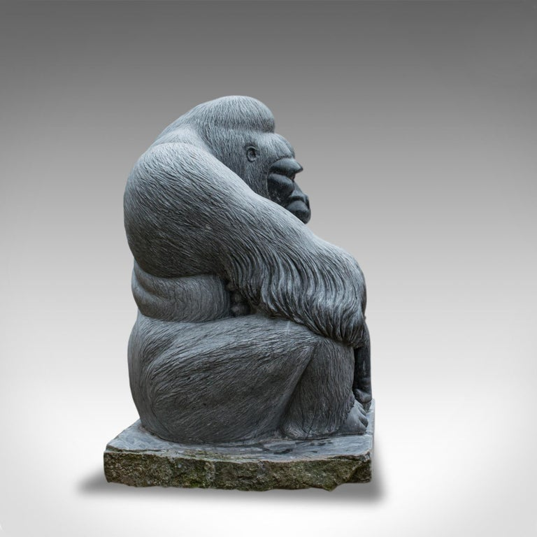English Large Sculptural Artwork Marble Statue Shabani Lowland Gorilla by Dominic Hurley For Sale
