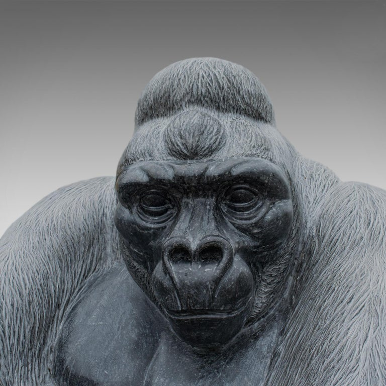 Contemporary Large Sculptural Artwork Marble Statue Shabani Lowland Gorilla by Dominic Hurley For Sale